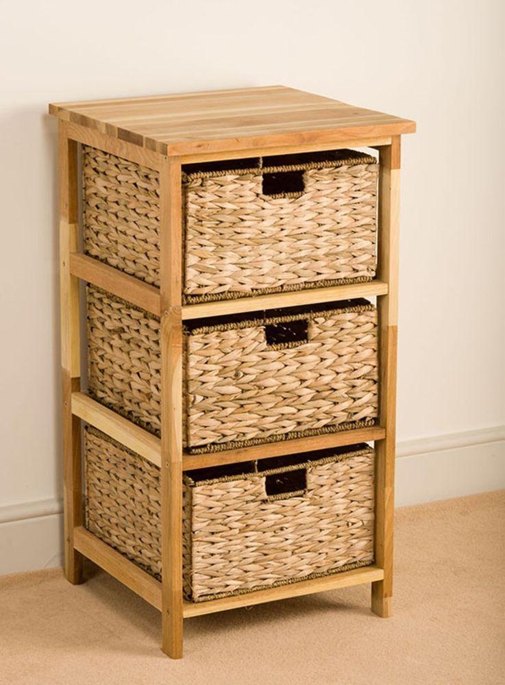 3 Basket Walnut Storage Unit Storage Unit Storage Basket Drawers