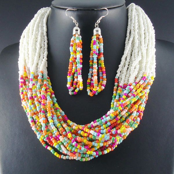 Multicolor Multi Strand Seed Bead Necklace and Earrings Set.