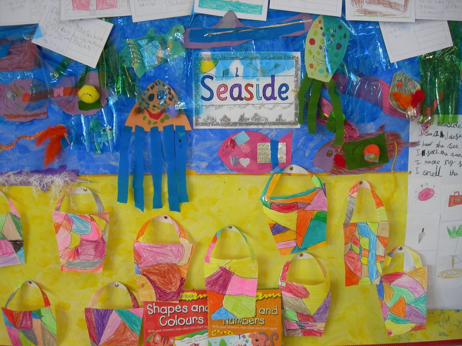 Classroom Display Ideas Nursery ~ Lovely seaside display made up from postcards poems