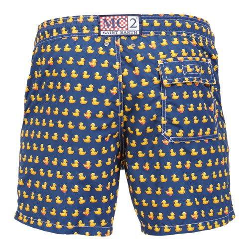 GUSTAVIA SWIM SHORTS WITH DUCK PRINTBlue GUSTAVIA Swim Shorts, with contrast all-over duck print. Two side pockets. Back Velcro flap pocket. MC2 label on waist to the reverse. Elastic waistband with adjustable drawstring. Internal net. COMPOSITION: 100% NYLON. Model wears size M, he is 189 cm tall and weighs 86 Kg.