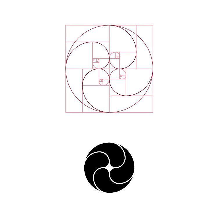 Logo design construction based on Golden Ratio proportions
