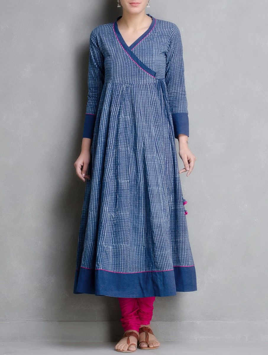 d2cfde9f3eec02 Buy Indigo Hand Block Printed Kalidar Angrakha by Aavaran Cotton Apparel  Tunics   Kurtas Muse Dabu Dyed Skirts More from Akola Rajasthan Online at  Jaypore. ...