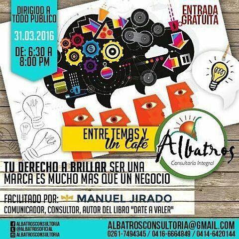 @Regrann from @dateavaler -  Este próximo 31 de marzo estrenaremos la conferencia #TuDerechoABrillar como parte del lanzamiento del libro #DateAValer. Todos podemos ser grandes valiosos importantes si sabemos desarrollar coherentemente nuestra identidad. Te esperamos a las 6.30 pm en @albatrosconsultoria C.C. La Cascada de la Urb. La Pícola #Maracaibo. Entrada Libre! _____ #Branding #Marketing #Empresa #Emprendedores #Negocios #Marcas #Venezuela #VenezuelaDateAValer #Regrann by manueljirado