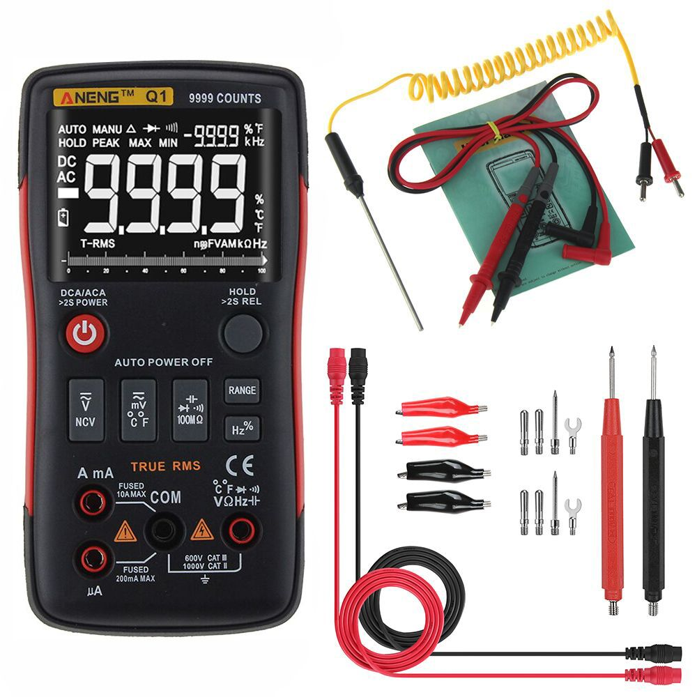 Aneng Q1 9999 Counts True Rms Digital Multimeter Ac Dc Voltage Current Resistance Capacitance Temperature Tester Auto Manual Raging With Analog Bar Graph Measur Bar Graphs Ac Dc Voltage Acdc