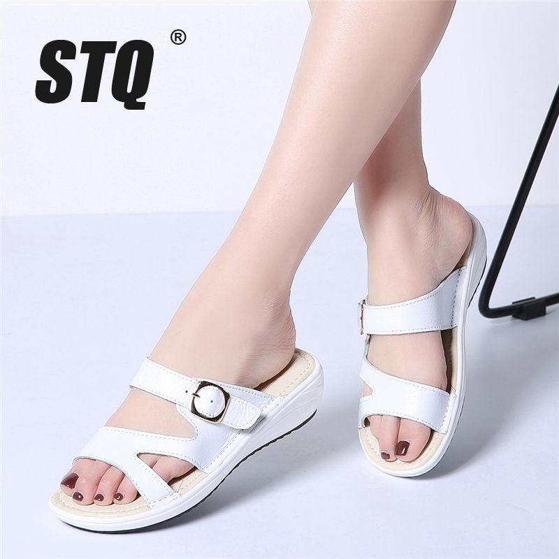 les diapositives sandales de plats stq été plage blanche noire diapositives les chaussures 90ed13