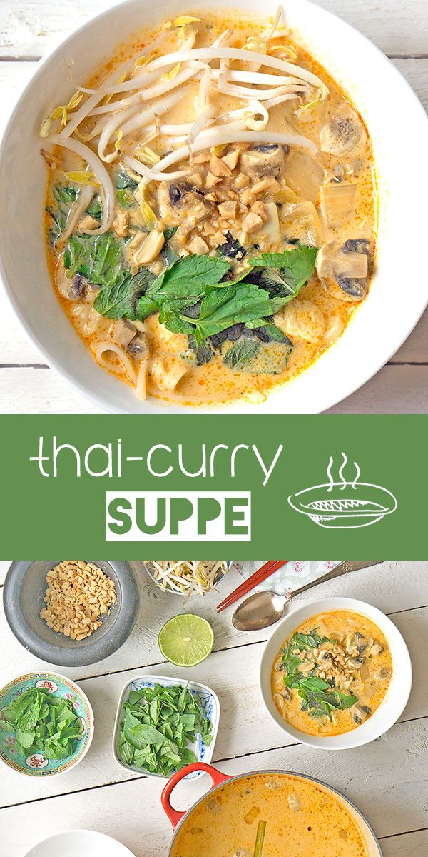 Thai curry soup with coconut milk & rice noodles