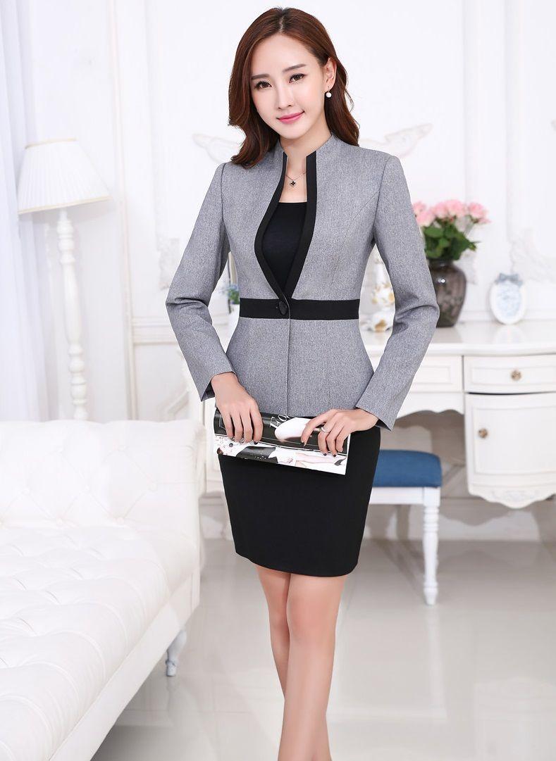 456cc2f3a817 Uniforme de gala estilos profesional trajes de negocios FemaleTops y falda  2015 otoño invierno mujer Blazers establece para mujer oficina S-4XL(China  ...