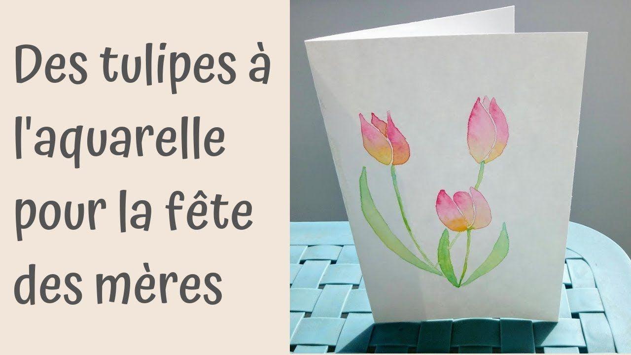 Carte De Fete Des Meres Tulipes A L Aquarelle Carte De Fete