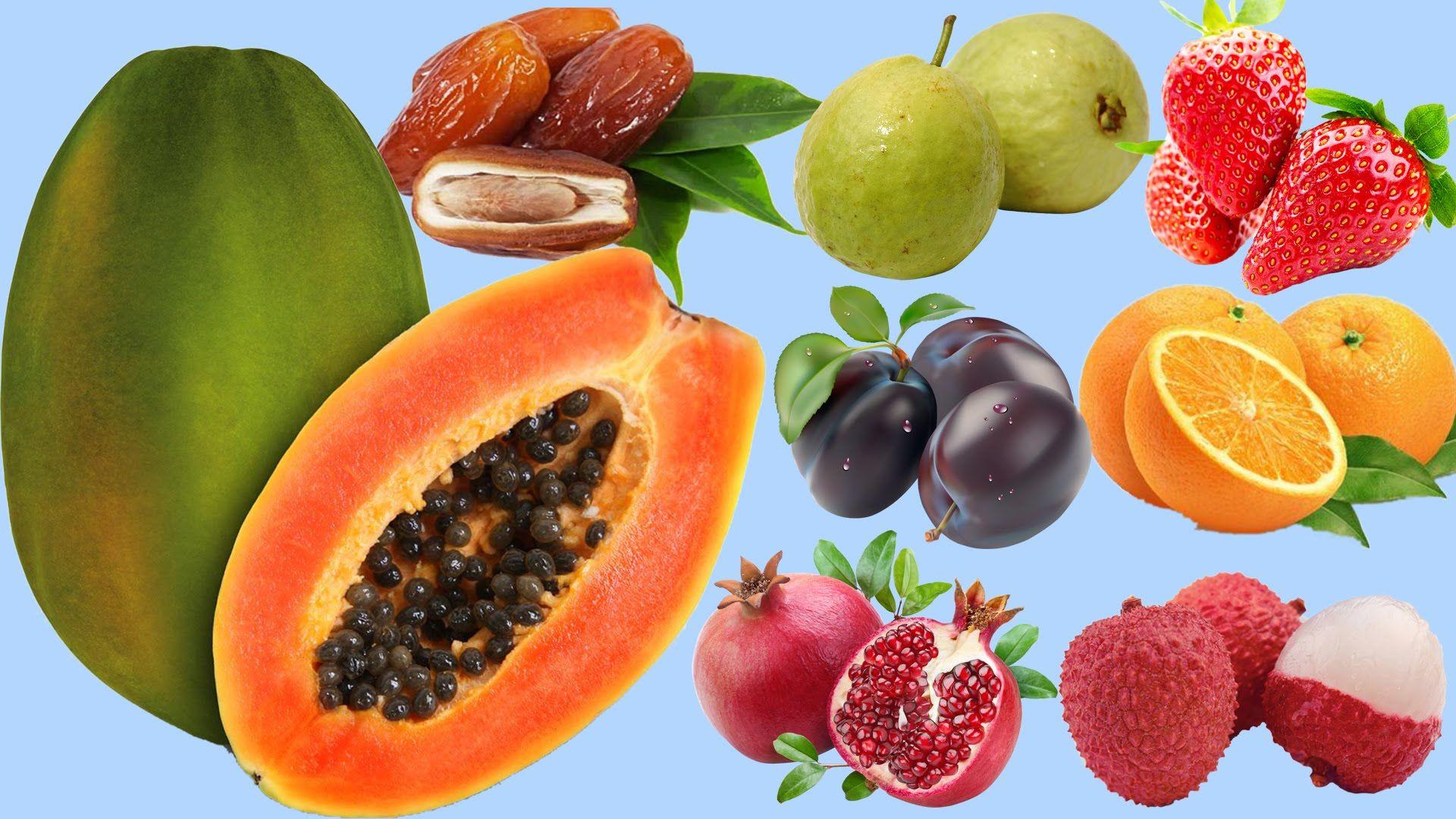 Learn Fruits Names Apple Orange Papaya Learning Fruits