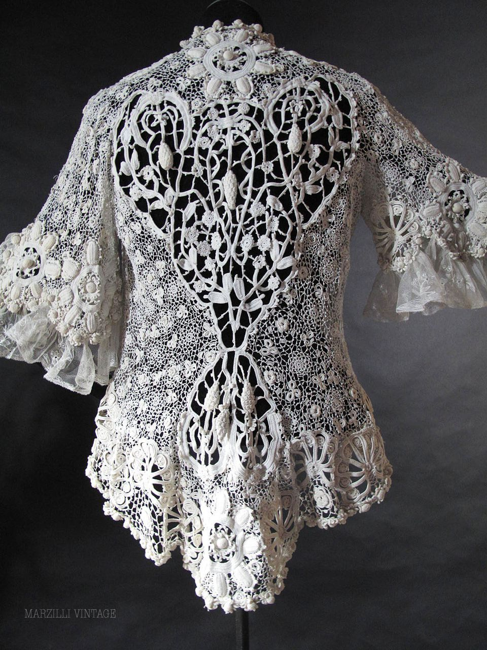 Exceptional Antique Irish Crochet Jacket  marzillivintage on Ruby Lane