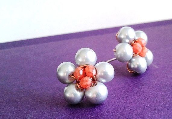 tangerine and gray, wire wrapped stud earrings