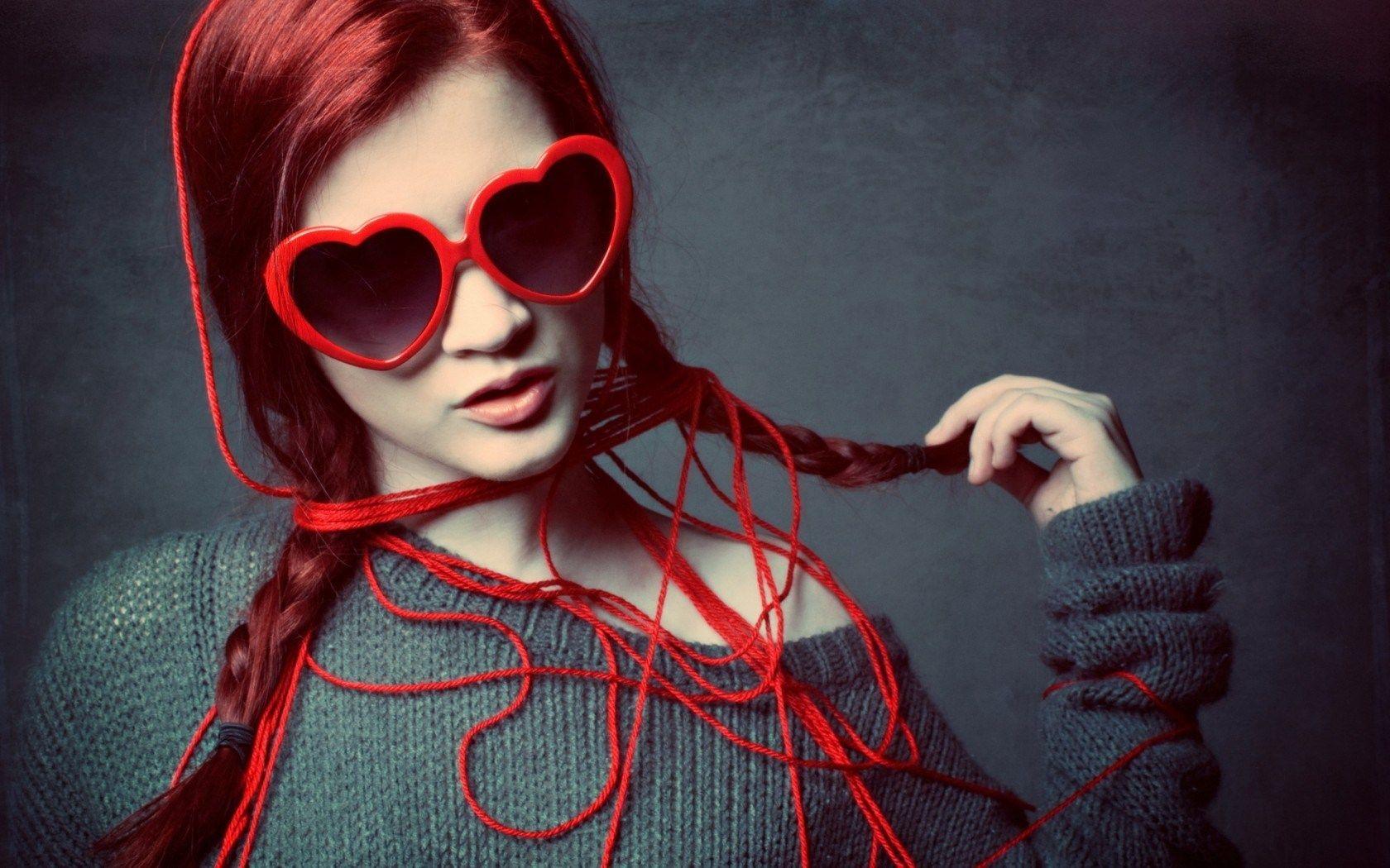 fashion sunglasses  Redhead Girl Heart Shape Sunglasses Thread HD Wallpaper