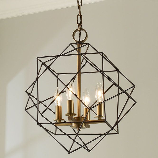 Structural Cubic Cage Lantern Small Chandelier Modern Chandelier Cage Chandelier