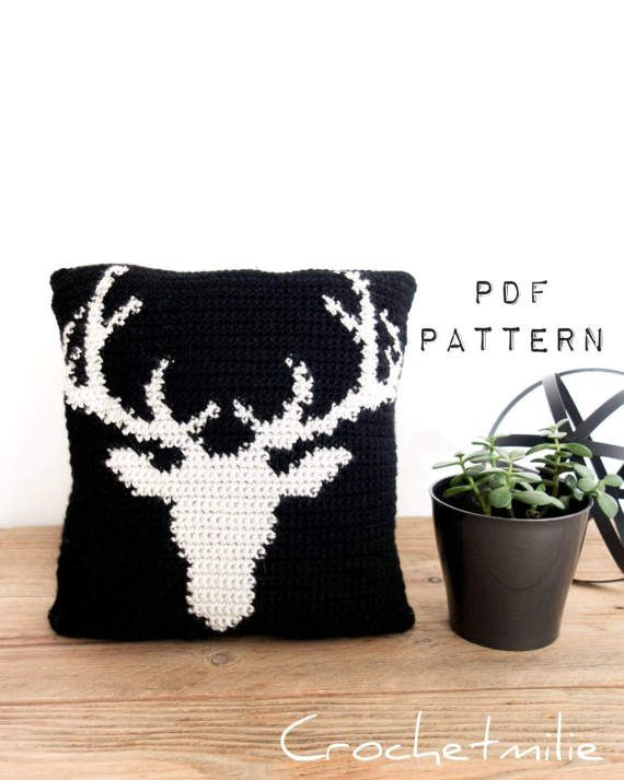 CROCHET PATTERN #014---Deer head cushion and pillow cover 2 SIZES ...