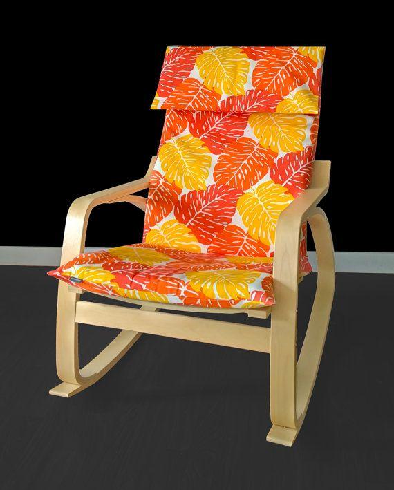 ikea orange chair covers hardwood mat diy leaves poang cover leaf seat brooklyn