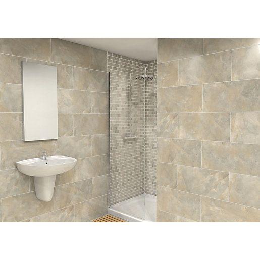 Wickes Onyx Verde Gloss Wall Tile 300x600mm   New Bathroom ...