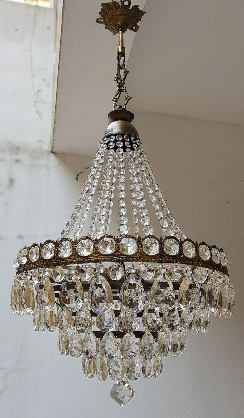 Antiguo / Vintage Latón & Cristales Francés ENORME Sin alcante Lámpara de Cristal de Iluminación de Iluminación de Luz de Techo de 1950#alcante #antiguo #cristal #cristales #enorme #francés #iluminación #lámpara #latón #luz #sin #techo #vintage