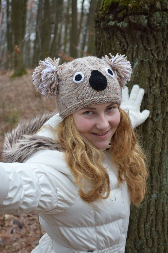Koala hat-Teen girl beanie-Girls hat-Girlfriend gift-Knit wool hat-Koala  beanie-spring fashion-Gift for teen girl animal hat Easter gift ceb2cfaadf5