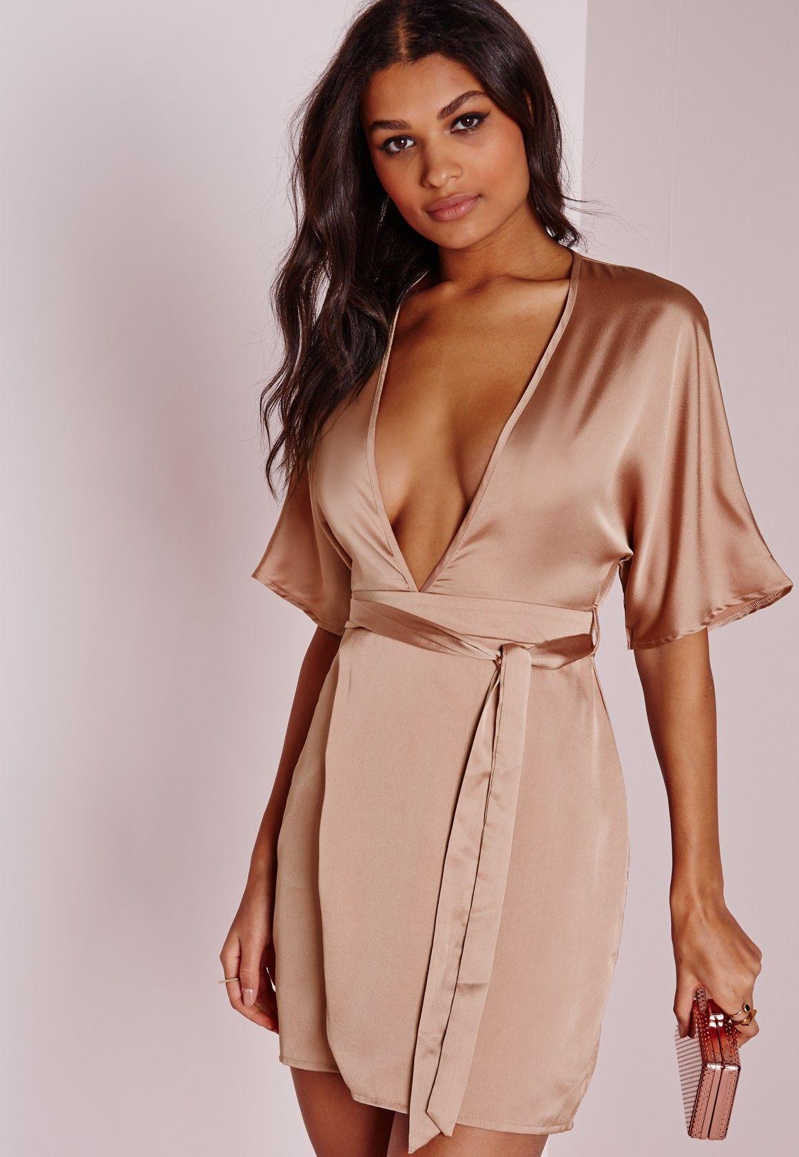 Nude satin wrap midi dress