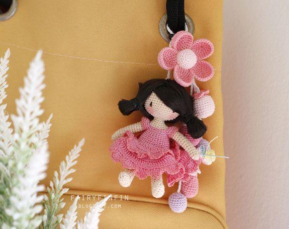 FairyFinFin: Bag charm, cute bag charm, girl doll bag charm, flower bag charm, crochet doll for bag charm, bag accessory, cute