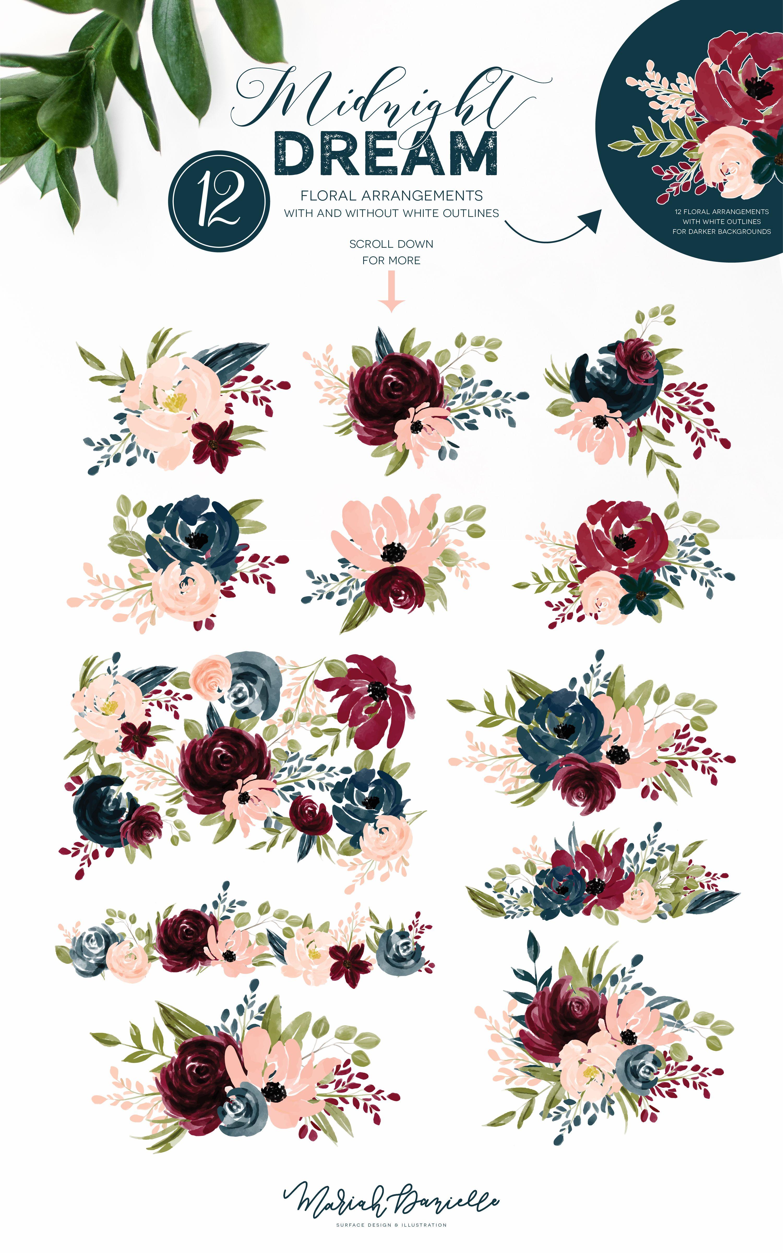 burgundy navy flower graphic set illustrations hand drawn floral illustrations diy wedding [ 3001 x 4800 Pixel ]