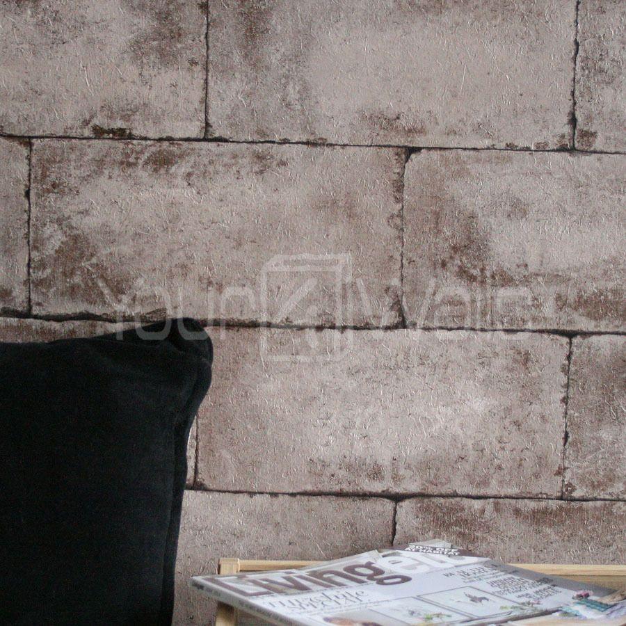 Breeze Block Wallpaper Stone Concrete Brick Effect Wallpaper In Beige Brown 19 99 Roll Concrete Bricks Brick Effect Wallpaper Concrete Wallpaper