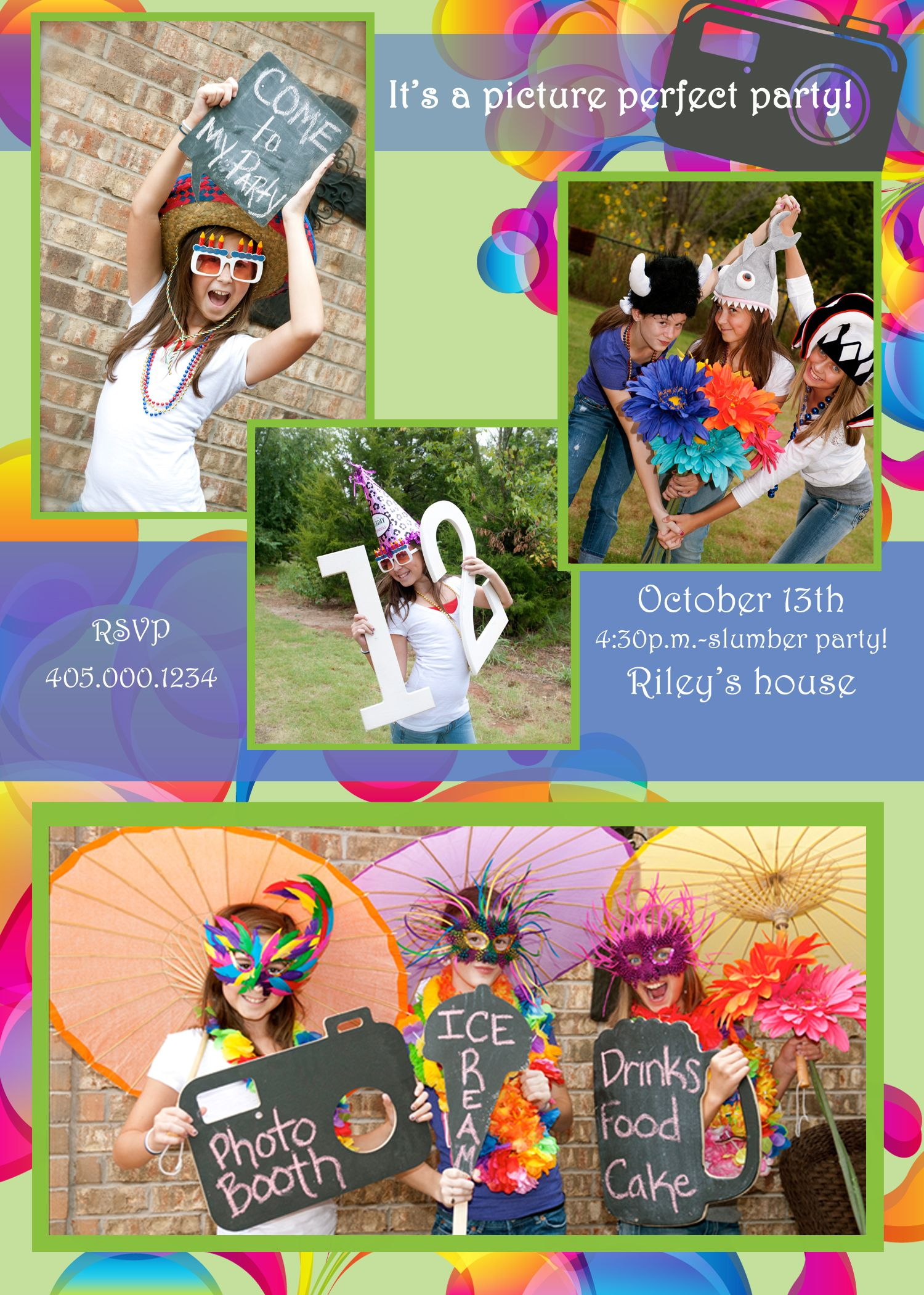 Birthday Invitation for a Photo Booth party Party photo