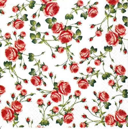 Szalvéta i1784 Small Roses white