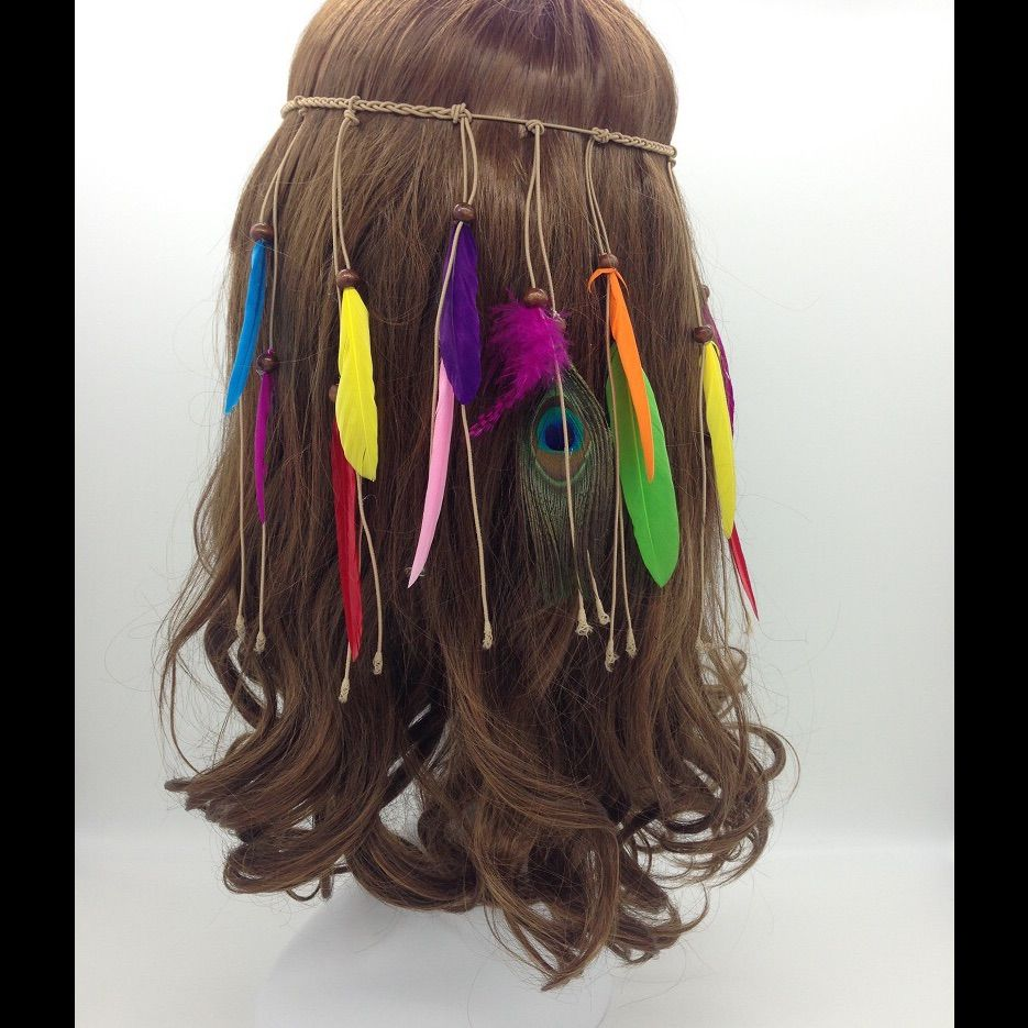 sale gorgeous hand knotted feather head band | products