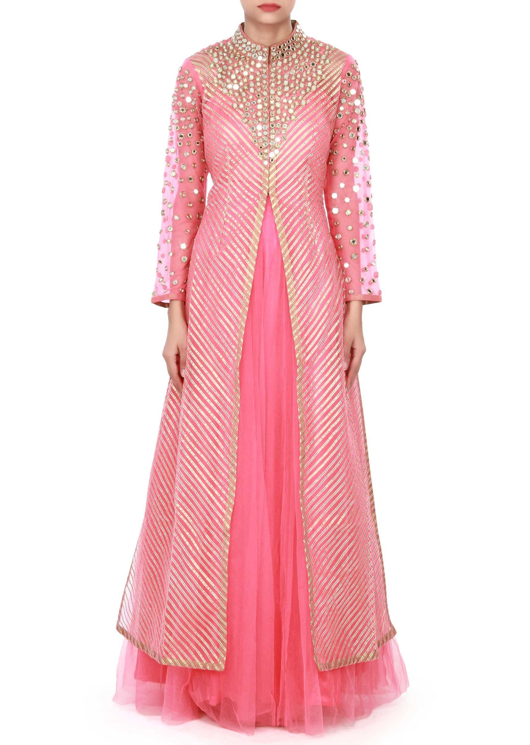 Coral pink anarkali suit adorn in gotta patti and mirror embroidery ...
