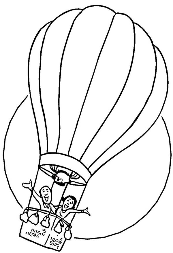 Two Happy People Ride Hot Air Balloon Coloring Page Coloring Sky In 2020 Hot Air Balloon Drawing Coloring Pages For Kids Coloring Pages