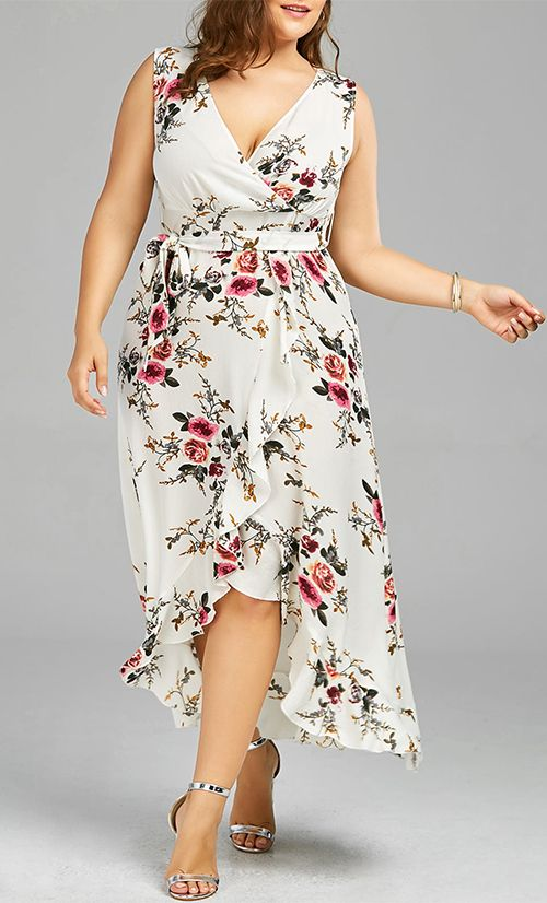 52ddbb385f34e Plus Size Tiny Floral Overlap Flounced Dress