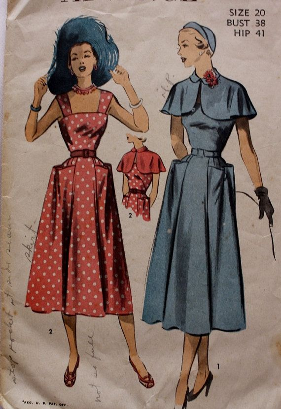Sundress and Caplet Cape Sewing Pattern Advance 5511 Size 20 Bust 38 ...
