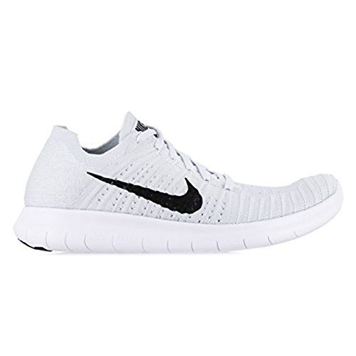 Nike Women's Free Running Motion Flyknit Shoes, White/Pure Platinum/Black -  B(M) US Textile Imported Rubber sole Phylite mid-sole for cushioning Flex  ...