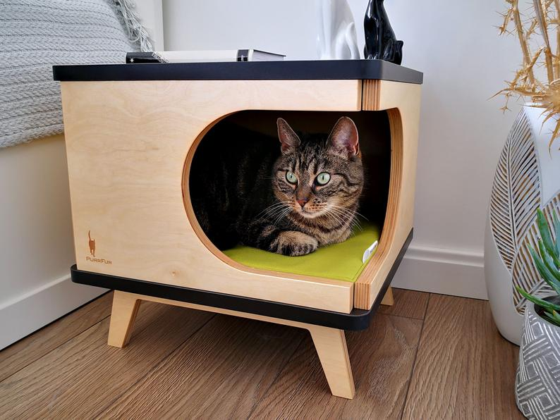 Stylish Cat House Plywood Bed, Modern Cat Bed Furniture