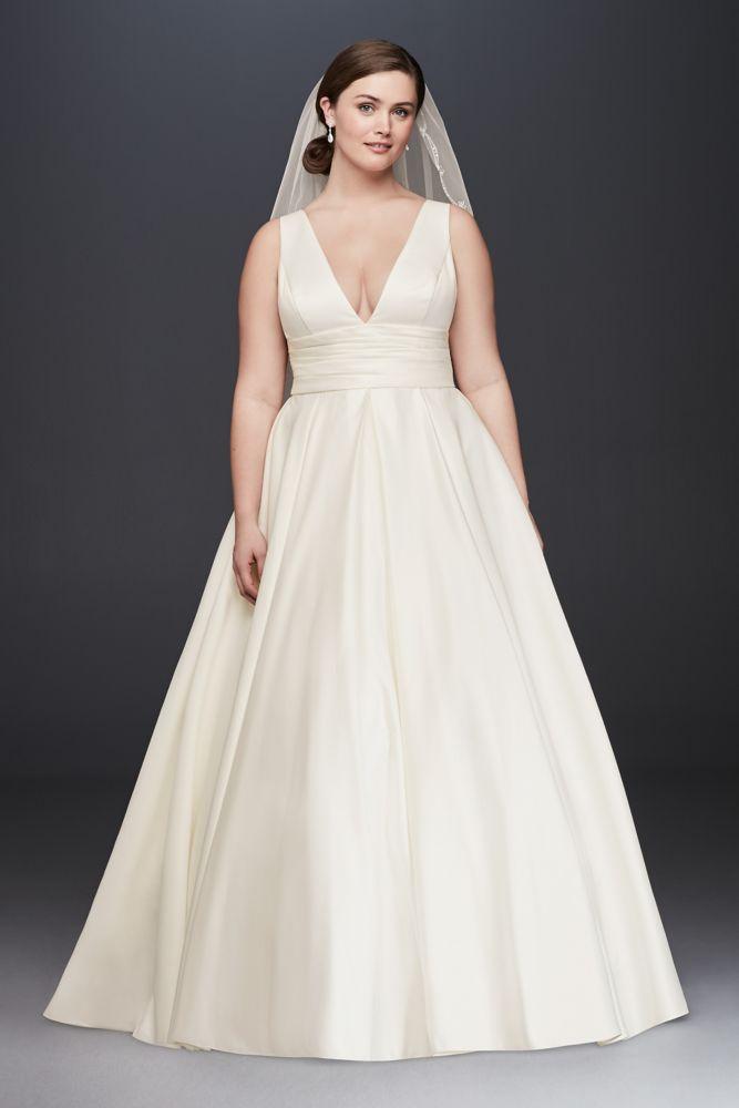 Extra Length Cummerbund Satin Plus Size Wedding Dress Ivory 24w
