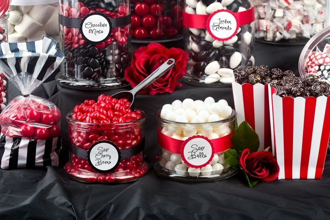 Rockabilly Wedding Black White And Red Sweet Buffet Candy Bar Sweet