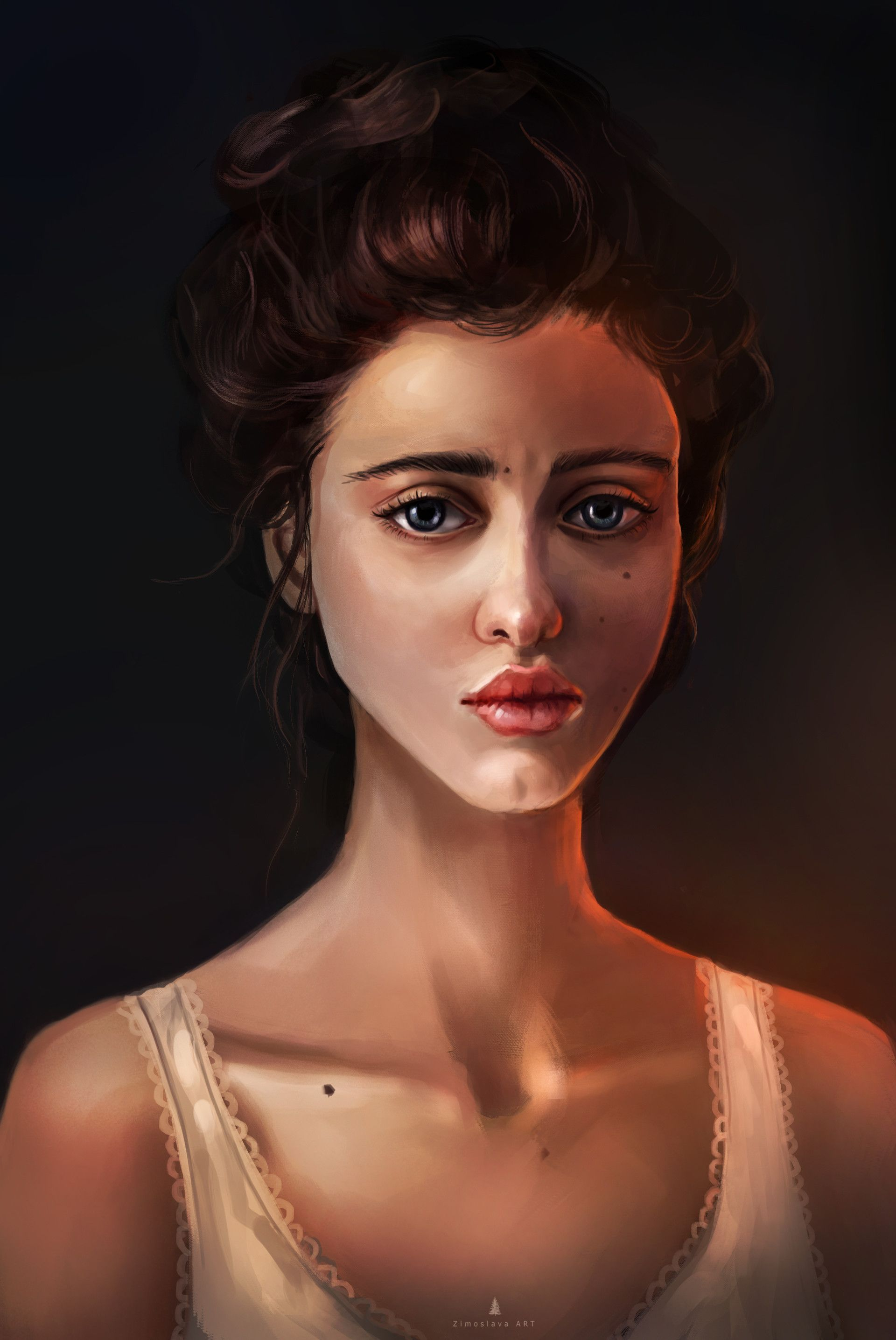 Sketch girl portrait zimoslava art face pinterest