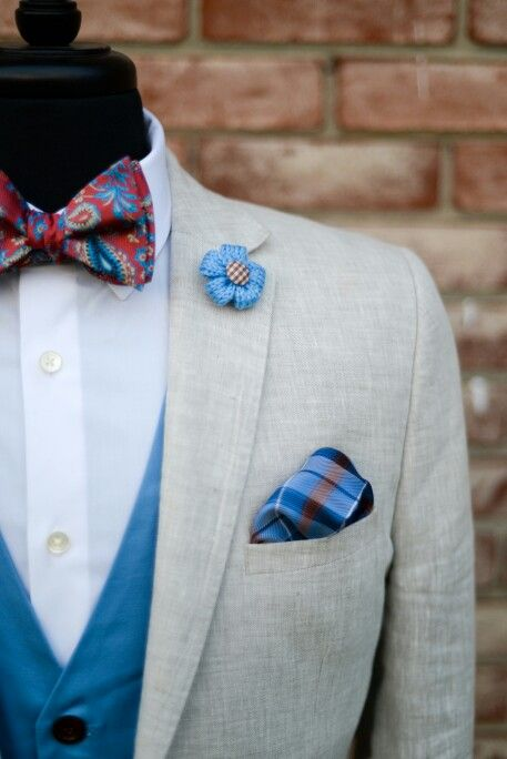 6886a3cf95c2 Love the paisley bow tie, plaid pocket square, lapel flower and matching  vest