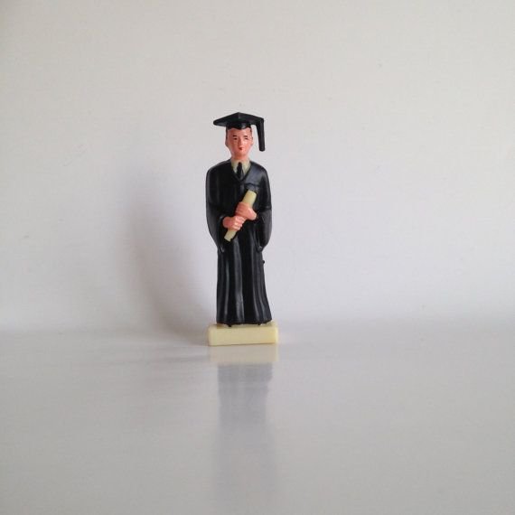 Vintage Graduate Cake Topper Black Cap And Gown By Ddbuttons 3 00 With Images Cap And Gown