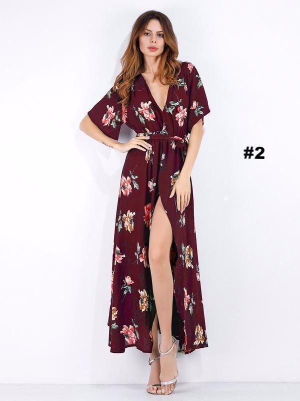 4402c12a5fb3 Pretty Floral High Slit Deep V-neck Maxi Dress