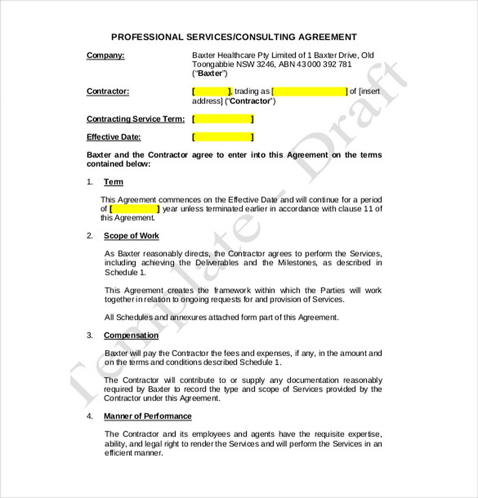 Professional Consulting Agreement 9 Consulting Agreement Template Understanding About Consulting Agr Contract Template Contract Templates Agreement Letter