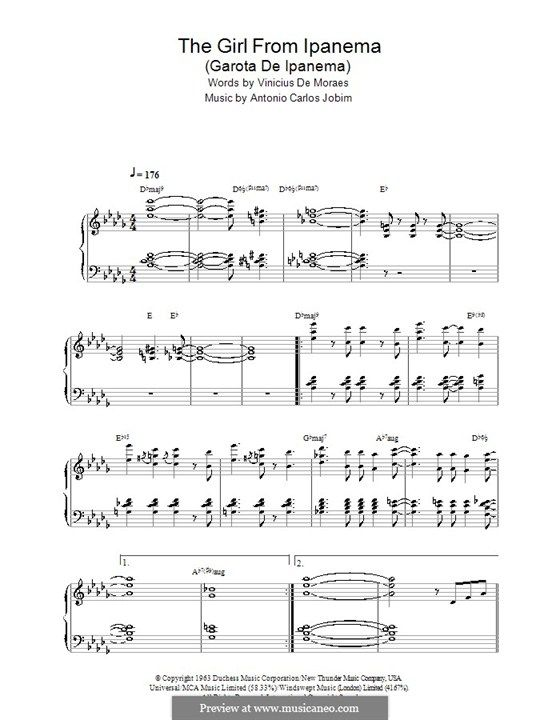 The Girl from Ipanema (Garota de Ipanema), for Piano: With chords by ...