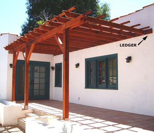 pergola plans attached to house pre drill and attach the ledger to the house saving inspiration here gif watch ron hazelton s house calls how to construct