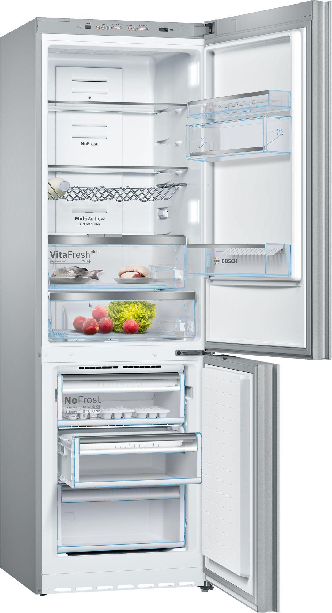 Bosch B10cb80nvw Free Standing Fridge Freezer With Freezer At Bottom Glass Door White Refrigerator Fridge Freezers Small Fridges