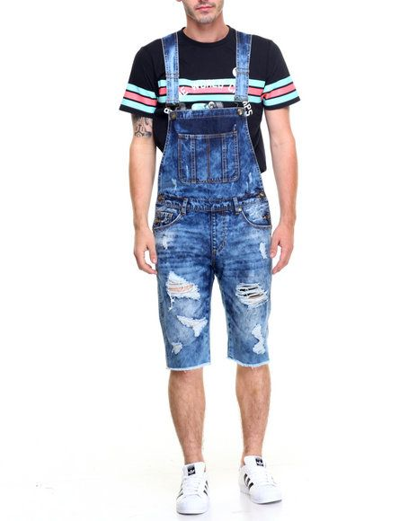 84f6c591911 Pink Dolphin - RAW EDGE CUFFED DENIM OVERALL SHORTS Summer Looks For Men