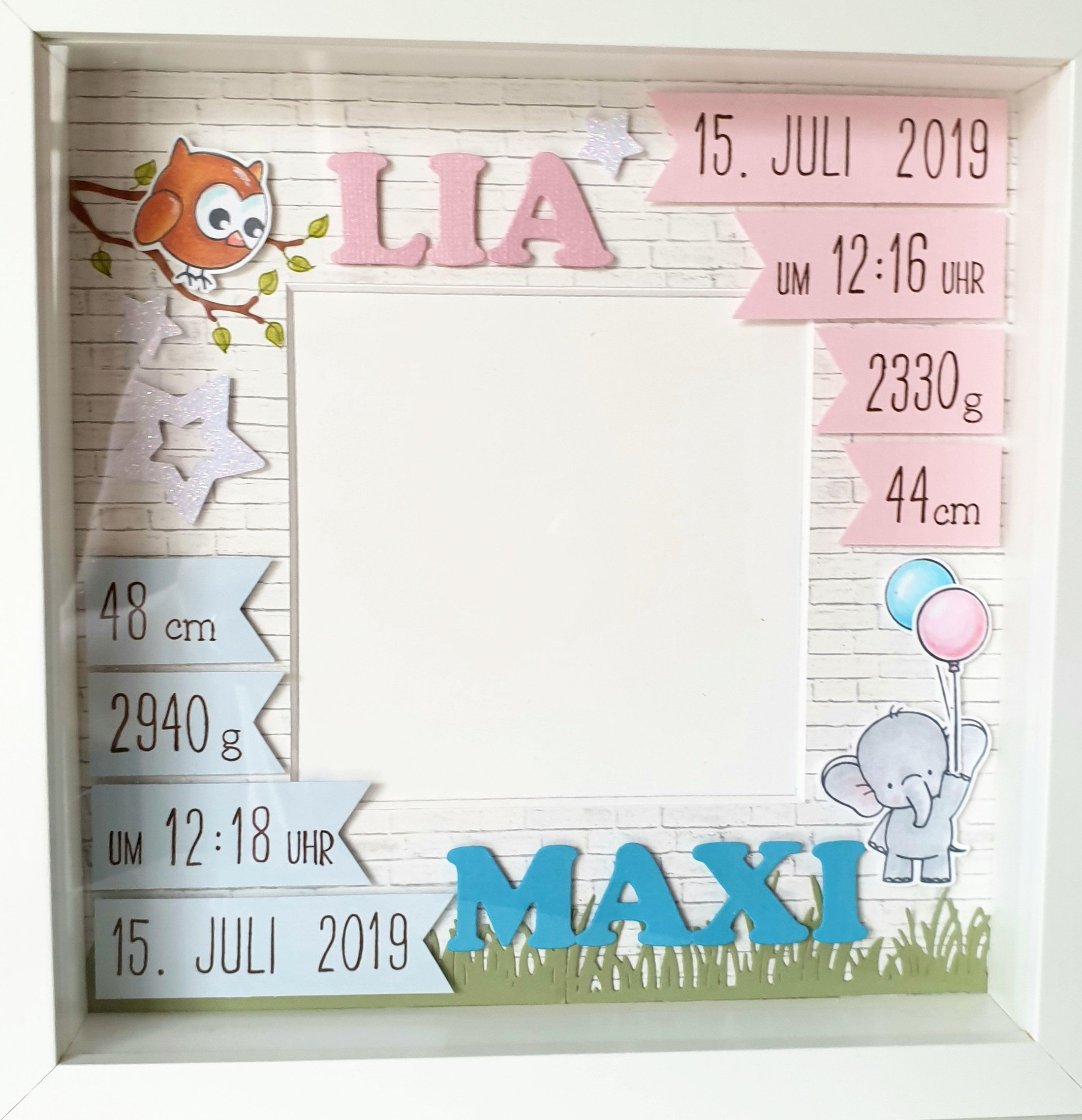 Personalized gift for the birth of twins in the frame