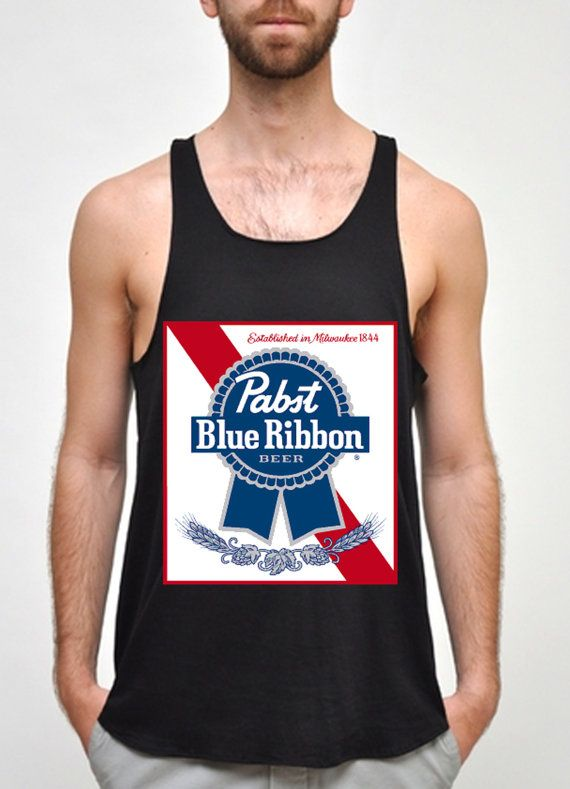 73264259 Pabst Blue Ribbon logo for men tank top size S by nudimention, $20.00