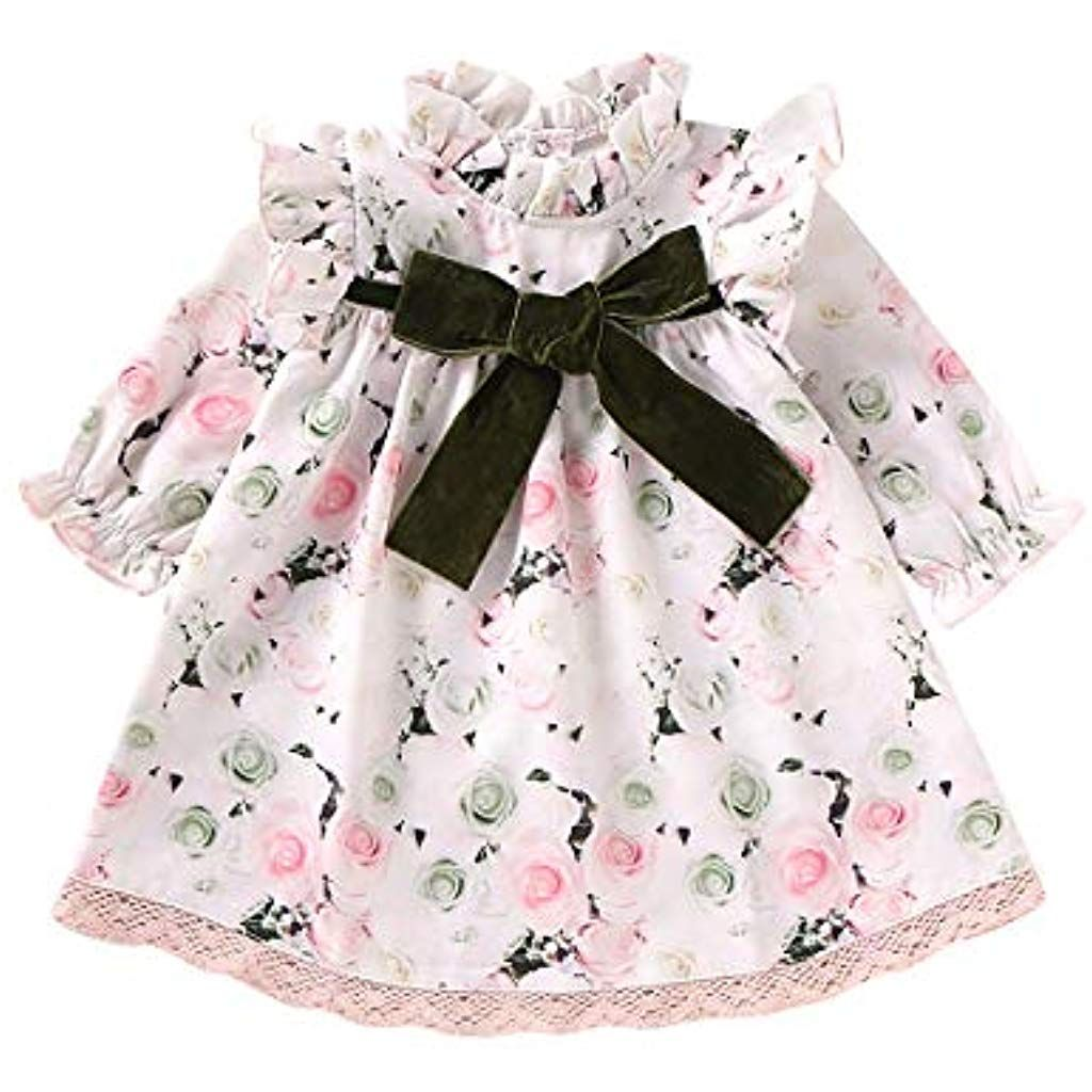 Inkach Baby Dresses Toddler Girls Long Sleeve Embroidery Floral Princess Dress