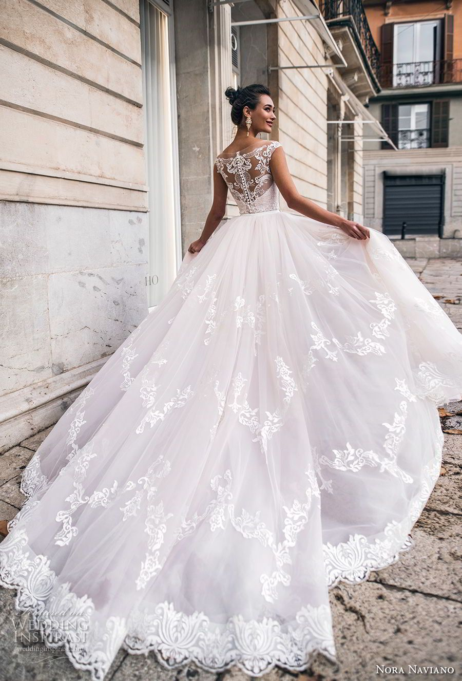 d634aada494 nora naviano 2019 bridal cap sleeves sweetheart neckline full embellishment  princess blush a line wedding dress sheer lace back chapel train (14) bv --  Nora ...